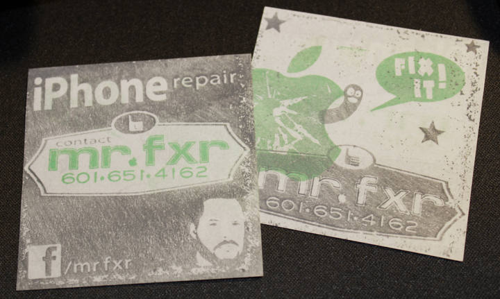 mr. fxr's custom crafted hand stamped business cards